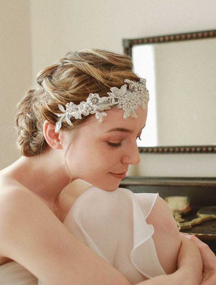 STYLE - #208 CODE:HDB012 Silver floral lace headband. Headband features delicate embroidered floral lace in silver color.  The countless beads and sequinces create eye-catching metallic texture.  Romantic addition to brighten up your wedding ensemble. Headband features delicate embroidered floral lace in silver colour. The countless beads and sequence create eye-catching metallic texture. To order yours, contact us on loca@localoca.co.za www.localoca.co.za