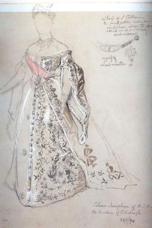 Sketch of the wedding dress of Grand Duchess Maria Alexandrovna, the future Duchess of Edinburgh