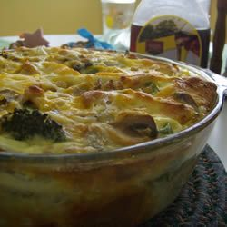 Mom's Breakfast Strata: Made this using 2.5 cups of diced ham and about 3/4 cup of red bell pepper, added hot sauce, pepper and garlic powder to egg and milk mixture. Next time I will add more peppers, mushrooms and onion. Super easy recipe. Will make again.