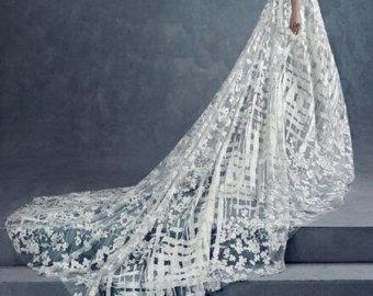 Mode ivoor lace stof jurk weefsel mode tulle lace Franse kant bruids jurk stof jurk guipure lace stof