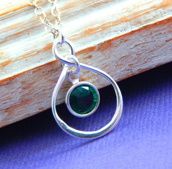 Birthstone Necklace Personalized infinity by Kikiburrabeads