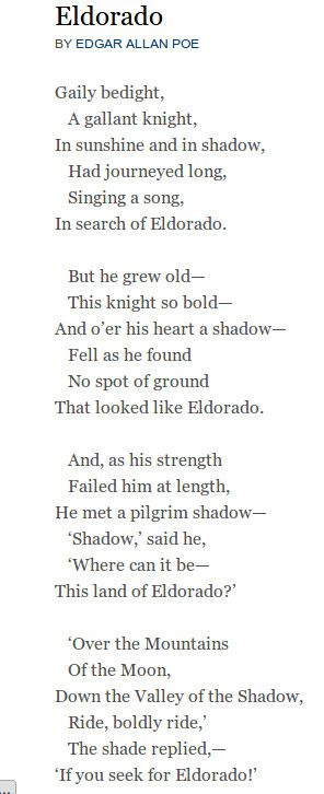 Eldorado - Edgar Allan Poe | Poetry | Pinterest