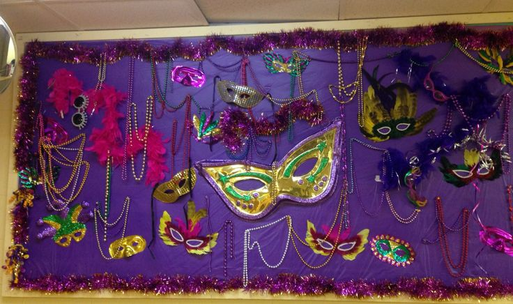 Mardi Gras bulletin board for Nursing Home 2015