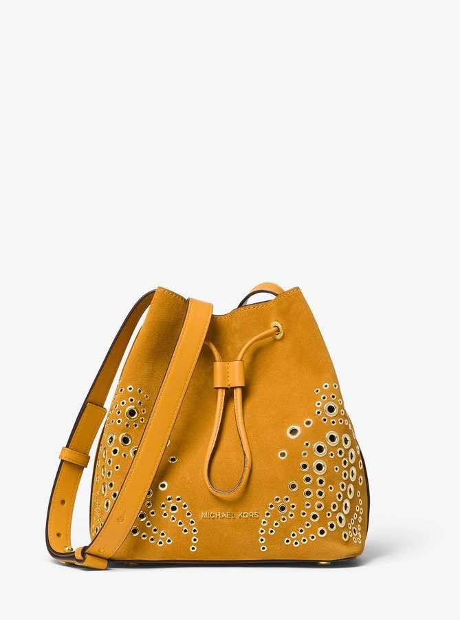 767b70d7d1bfcf MICHAEL Michael Kors Cary Small Grommeted Suede Bucket Bag ...