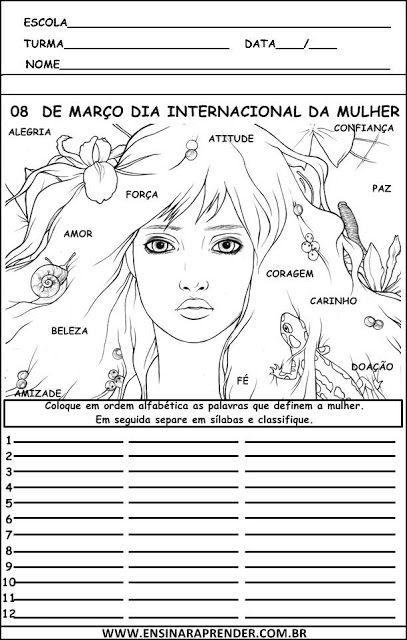 """ATIVIDADES DO DIA INTERNACIONAL DA MULHER ~ """" Cantinho do Educador Infantil """""""