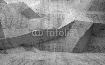 Abstract dark concrete 3d interior with polygonal pattern on the
