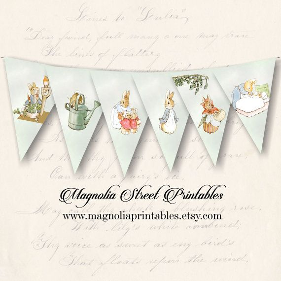 Printable Peter Rabbit Banner, Beatrix Potter Banner, Printable Easter Banner, Baby Shower Banner, Instant Digital Download