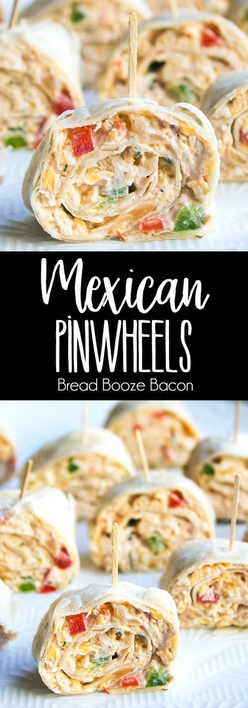 This easy Mexican Pinwheels Recipe is a party favorite that's full of bright, bold flavors you'll crave! via @breadboozebacon