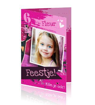 Leuke en hippe roze graffiti verjaardagsuitnodiging kaart voor een cool feestje die jullie dochter verdient. Verschillende roze tinten en hartjes aan de binnenkant maken dit echt een kaart voor een stoere prinses. Leuke kaart van luckz.nl