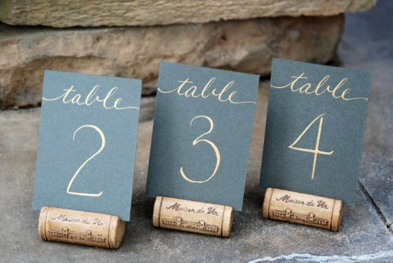 Single Wine Cork Table Number Holder for by KarasVineyardWedding