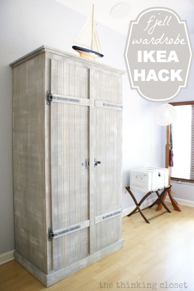 This is gorgeous. IKEA Hack: Whitewashed Fjell Wardrobe with Pallet Shelves | The Thinking Closet