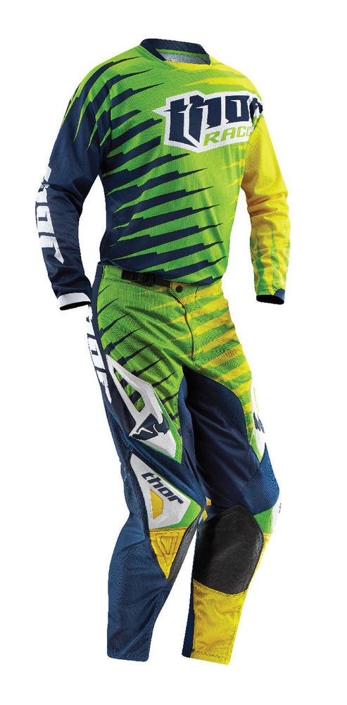 acdedb0535c Thor Lime Green Blue Yellow Phase Vented Rift Mens Dirt Bike Jersey Pants  #Thor