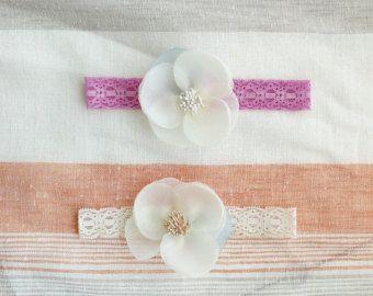 Baby Headband Flower headband Lace headband by Janeysfaves on Etsy