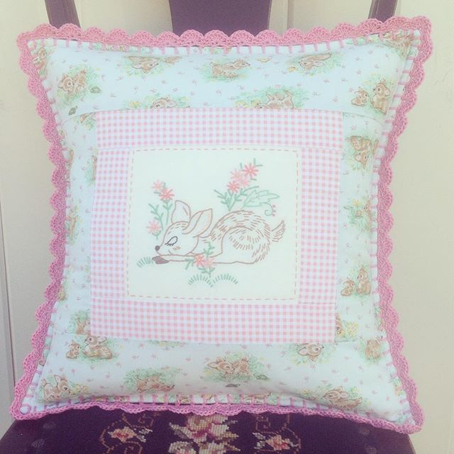 This sweet pillow is finished and ready to go to its lovely new home soon!!