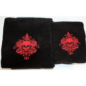 Halloween - Skull - Gothic Bath Towel Set Black With Red Stiching