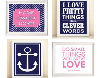 Pink & Navy 'Preppy Dorm Room Collection' print posters