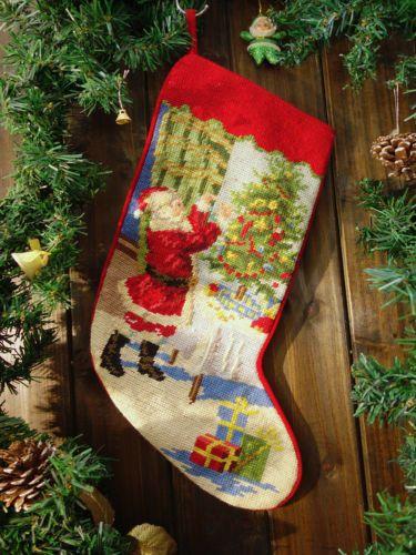 Needlepoint Christmas Stocking Santa Clause Decor Tree Beautiful