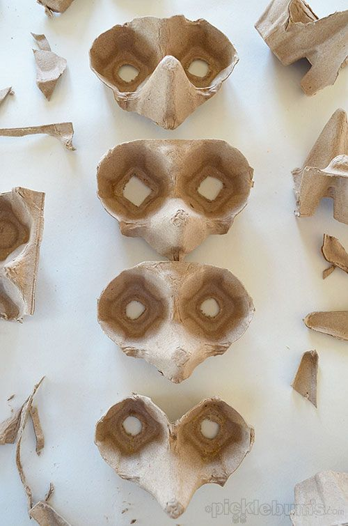 Egg carton masks - thinking of making a lot and attaching to a tree for a creepy effect. Glow paint?