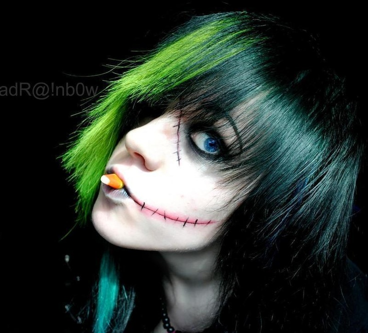 Stiches/Zombie Girl Makeup Awesome green hair and cool makeup. Not sure about the candy corn in the mouth though