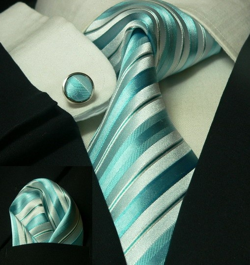 Spring/Summer Weddings. Dark suit with teal and white striped tie + matching cuff links