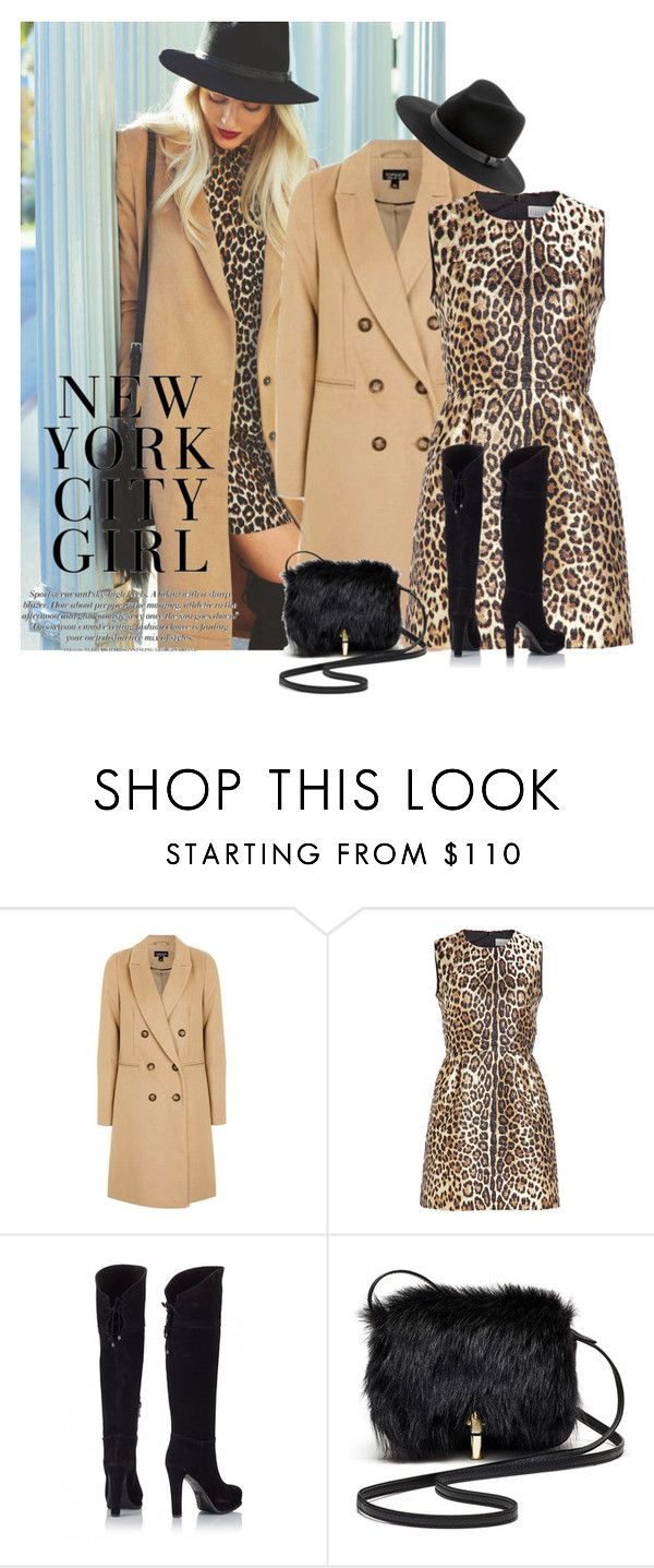 """Leopard Print Dress-GTL"" by honkytonkdancer ❤ liked on Polyvore featuring Topshop, RED Valentino, Fratelli Karida, Elizabeth and James, Sole Society, GetTheLook, LeopardPrint and camelandblack"