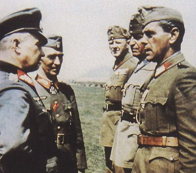 Generalfeldmarschall Walter Model questioning Hungarian officers with Generalleutnant (later General der Infanterie) Rudolf von Bünau