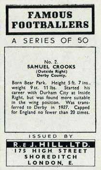 1939 R & J Hill Famous Footballers Series 1 #2 Sammy Crooks Back