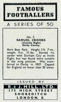 1939 R & J Hill Famous Footballers Series 1 #2 Sammy Crooks Back