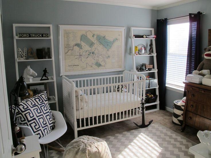 Blue + Gray Vintage Navy/Nautical NurseryWall Colors, Boys Nurseries, Maps, Kids Room Decor, Baby Boys, Cribs, Vintage Nurseries, Nautical Nurseries, Boys Room