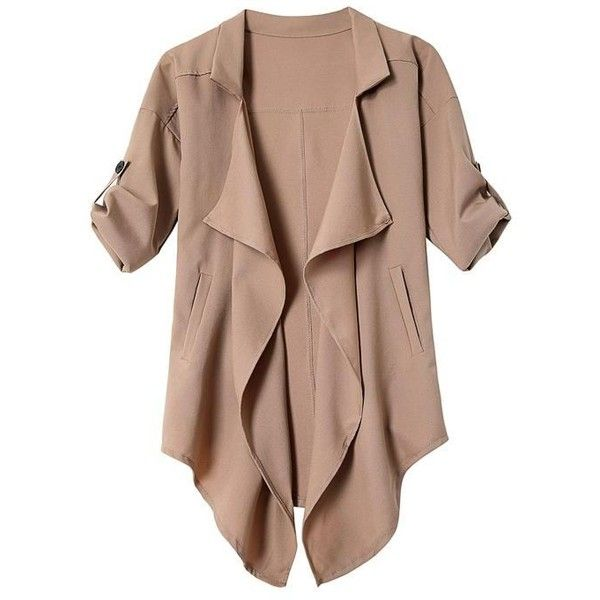 Yoins Khaki Irregular Hem Button Details Lapel Collar Trench Coat ($16) ❤ liked on Polyvore featuring outerwear, coats, jackets, cardigans, tops, khaki, khaki coat, khaki trench coat, trench coat and brown trench coat