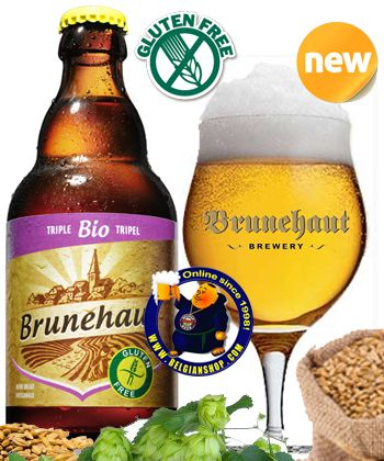 Brunehaut Bio Triple Gluten Free 8° Available at http://store.belgianshop.com/gluten-free/1627-brunehaut-bio-triple-gluten-free-8-13l.html GLUTEN FREE!! Little cloudy, dark blond to light beige beer, creamy white head, pretty stable, adhesive, leaving a nice lacing in the glass. Aroma has soapy citrus, some grainy notes and hints of apricot. Taste is a light fruity and malty sweetness with a light spicy hop bitterness. Light to medium body with generous carbonation. Recommended.