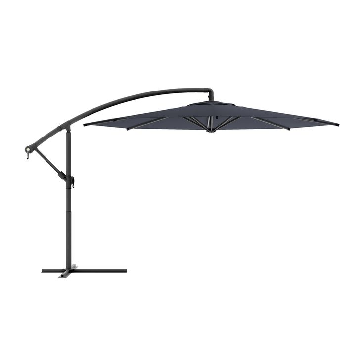 Corliving Corliving Black Offset Patio Umbrella With Base (Common: 9.5 Ft W  X 11 Ft L; Actual: 9.58 Ft W X 11 Ft L) Ppu