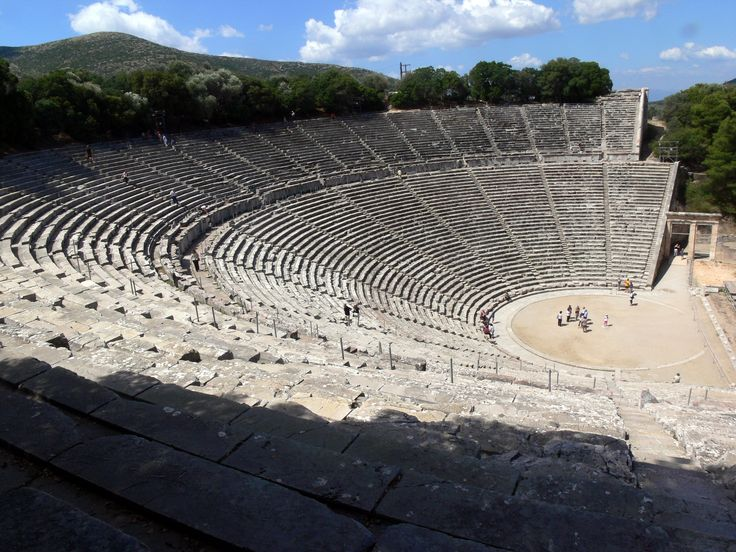 "The theatre at #Epidaurus (Greek: Επίδαυρος) #Peloponnese - ""The theater was designed by Polykleitos the Younger in the 4th century BC. The original 34 rows were extended in Roman times by another 21 rows. As is usual for Greek theatres (and as opposed to Roman ones), the view on a lush landscape behind the skênê is an integral part of the theatre itself and is not to be obscured. It seats up to 15,000 people."" More: http://en.wikipedia.org/wiki/Epidaurus#Theatre"