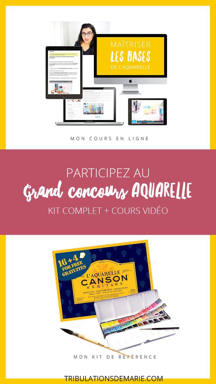 Concours Aquarelle : Matériel + cours ! Participez pour gagner un coirs pour débuter à l'aquarelle, une boite de couleurs Senneliers, etvdu papier aquarelle. Watercolor giveaway!