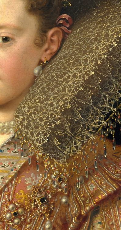 Margherita Gonzaga (1591-1632), Duchess of Lorraine (detail) ~ by Frans Pourbus the Younger ~ (Netherlands, Antwerp 1569-1622 Paris) ~ Frans Pourbus the younger was a Flemish painter, son of Frans Pourbus the Elder and grandson of Pieter Pourbus. Margherita was born in Mantua, the eldest daughter of Vincenzo I Gonzaga and Eleonora de' Medici.