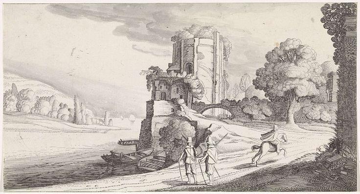 Jan van de Velde (II) | Ronde toren aan een rivier, Jan van de Velde (II), 1639 - 1641 | Twee converserende heren op een pad en een galopperende ruiter bij een ronde toren in een rivierlandschap. Aan de horizon zeilschepen. Zestiende prent van een serie met 36 prenten van landschappen, verdeeld over zes delen.