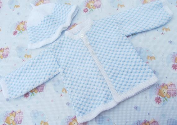 Newborn Baby Boy's / Girl's white / blue modern by bebbyjumpers, £18.00