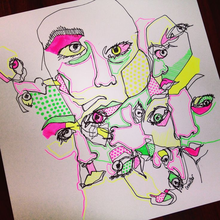 Self portrait blind contour drawings in black ink, accented with highlighter.