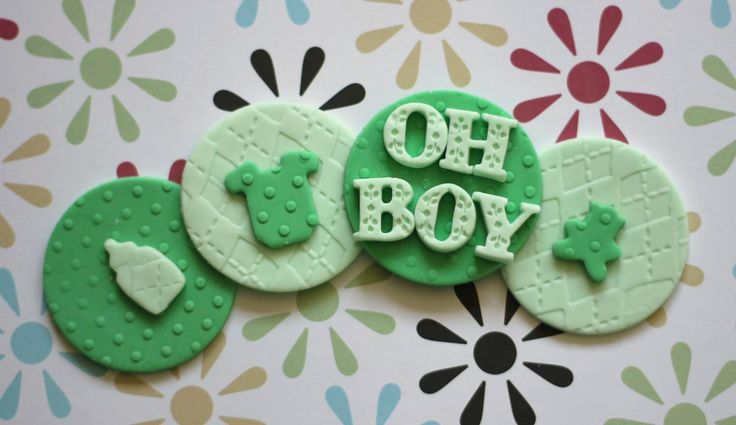Oh Boy!  fondant cupcake toppers for baby shower events.  Available at https://www.etsy.com/shop/LesPopSweets?ref=hdr_shop_menu