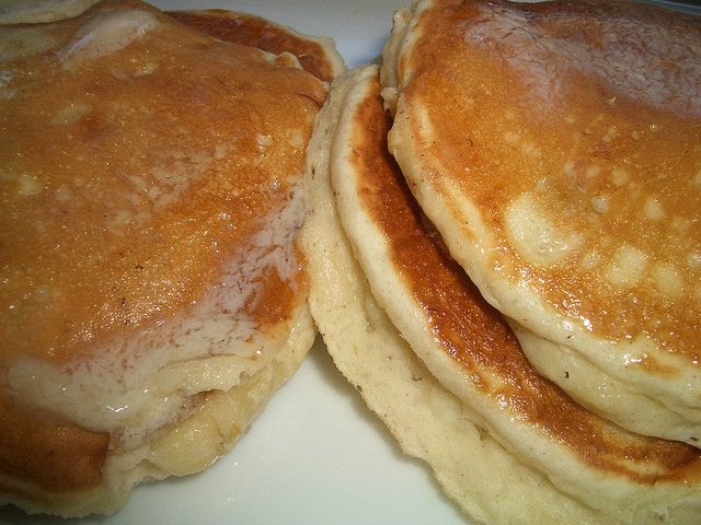 Bisquick Banana Pancakes....I make a big batch of these every month, they are great for my little one on mornings we are rushing to Church....I use 2frozen bananas,thawed, add quick cook oats for some density, cinnamon, nutmeg, and brown sugar all go into the batter...freeze flat then bag them up!!!