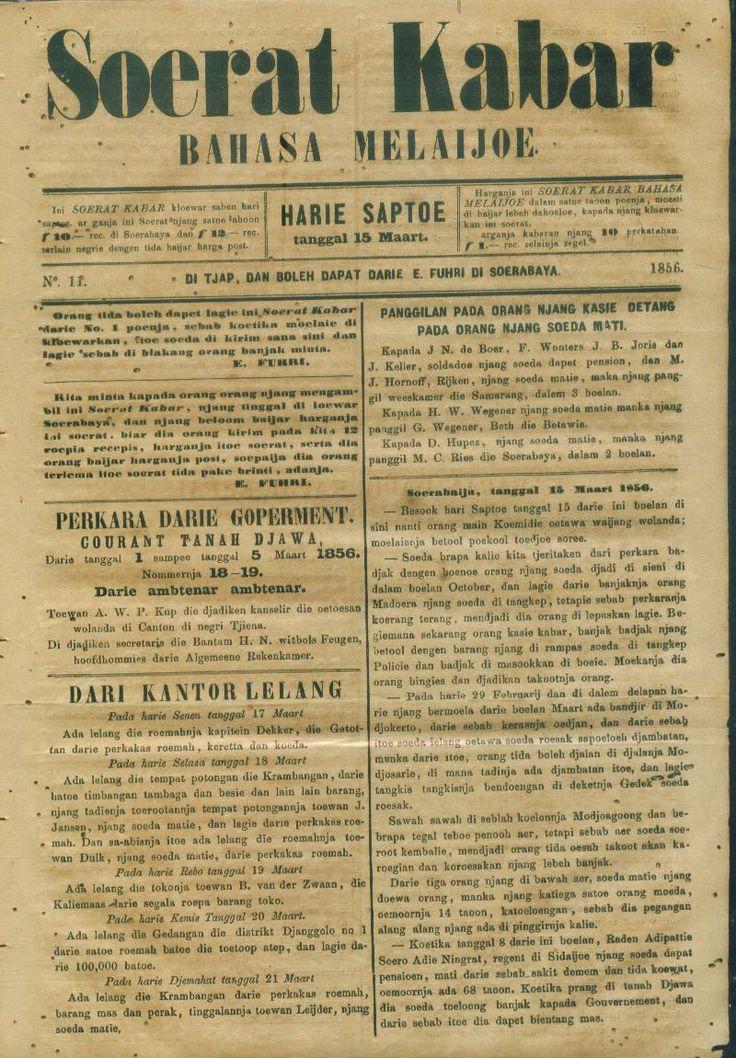 Soerat Kabar Bahasa Melaijoe th.1856