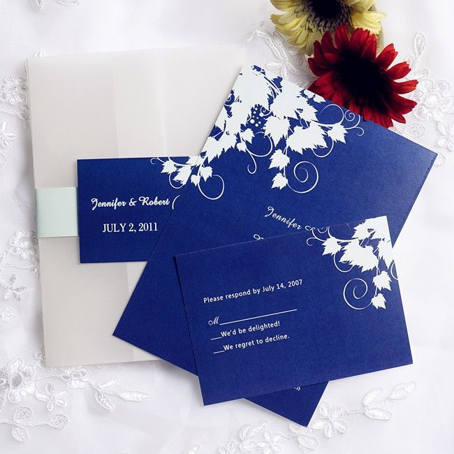 Royal Blue Wedding Invitation Cards: Simple Royal Blue Pocket Wedding Invites With Free Rsvp