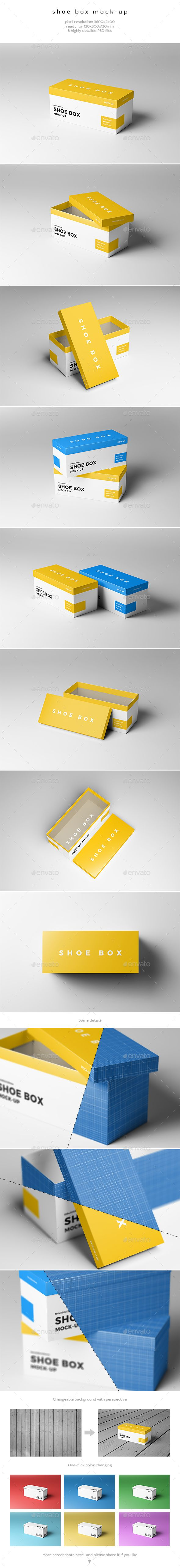 Shoe Box #Mock-Up - #Miscellaneous #Packaging Download here:  https://graphicriver.net/item/shoe-box-mockup/20320077?ref=alena994