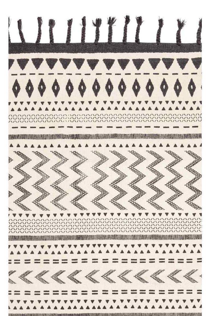 Tappeto in cotone con nappine - Bianco/antracite - HOME   H&M IT