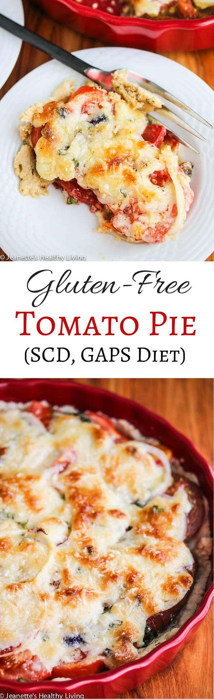 Gluten-Free Tomato Pie Recipe (SCD GAPS Diet) - scented with fresh rosemary and basil, this summer pie is delicious and perfect for lunch or dinner ~ http://jeanetteshealthyliving.com