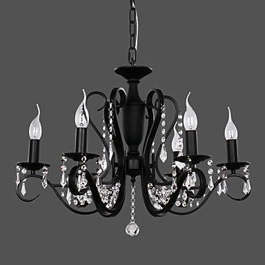 lampadari di cristallo moderni con 6 luci nere – EUR € 181.49
