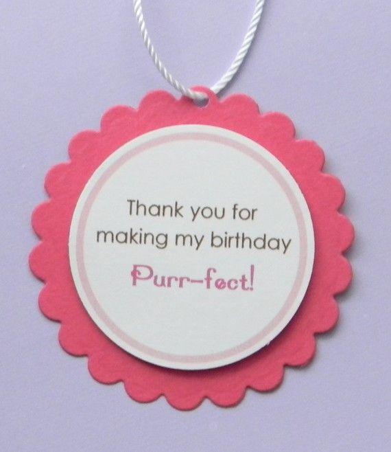 handmade KITTEN birthday favor tags by plumcakeparties on Etsy, $6.95