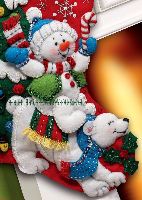Bucilla ~ Snowman & Polar Bear ~ 18 Felt Christmas Stocking Kit #86358.  First Released in 2012 ~ Discontinued in 2015  This is a discontinued pattern so please make sure you dont miss the chance to purchase one while there are still a few new ones available  How could you not have a Merry Christmas when you are sharing it with the cheerful characters on this stocking kit. The Snowman and Polar dont seem to have a care in the world as they frolick in front of a beautifully decorated Chris...