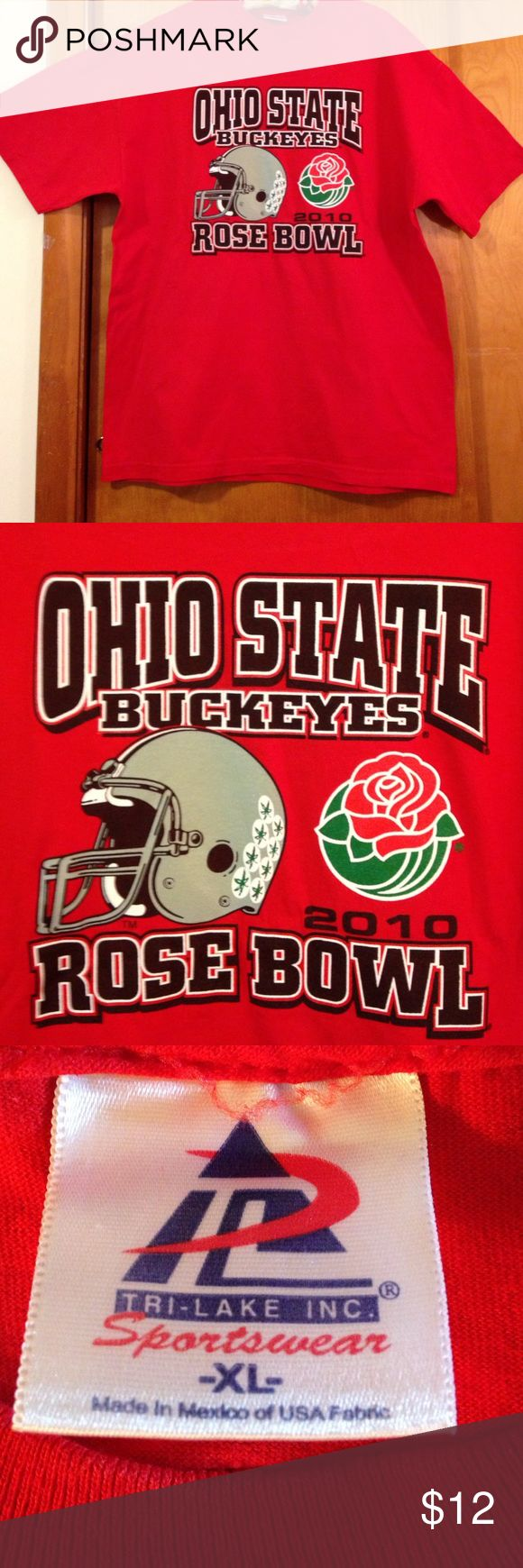 Ohio State Buckeyes 2010 Rose Bowl tee size XL Ohio State men's tee shirt made from 100% cotton. Underarm to underarm 23 inches. Shoulder to bottom of tee shirt 29 3/4 inches Shirts Tees - Short Sleeve