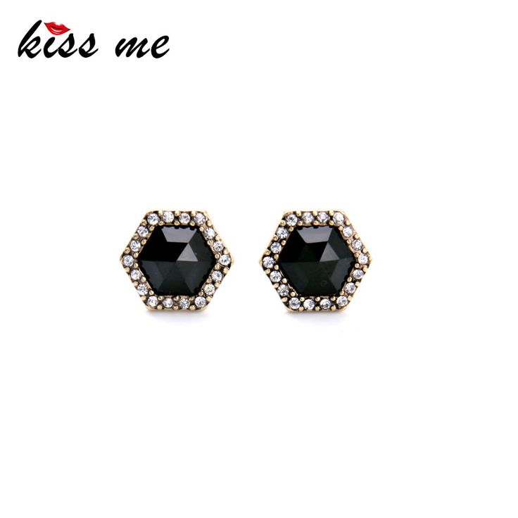 American Pop Concise Style Geometric Black Imitation Gems Female Stud Earrings Factory Wholesale